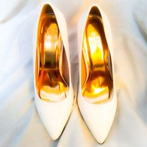 Cape Robbin womens white heels with gold soles